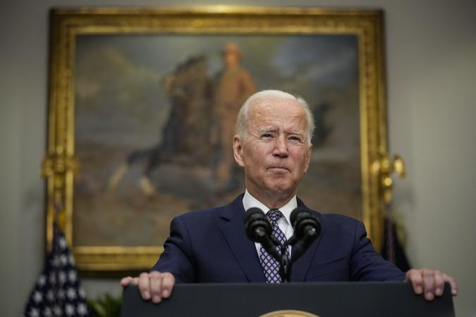 WASHINGTON, DC - AUGUST 24: U.S. President Joe Biden speaks about the situation in Afghanistan in the Roosevelt Room of the White House on August 24, 2021 in Washington, DC. Biden discussed the ongoing evacuations in Afghanistan, saying the U.S. has evacuated over 70,000 people from the country. (Photo by Drew Angerer/Getty Images)