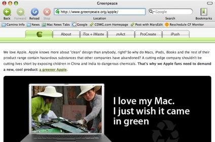 Greenpeace creates mock Apple homepage