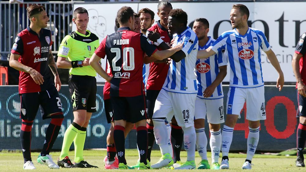 Muntari accuses referee who sent him off for challenging racist abuse of lacking 'balls'