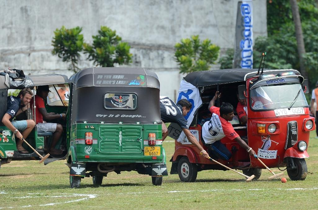 There were remarkably few dinged fenders after tuk-tuks replaced elephants at a Sri Lanka polo tournament (AFP Photo/Lakruwan Wanniarachchi)