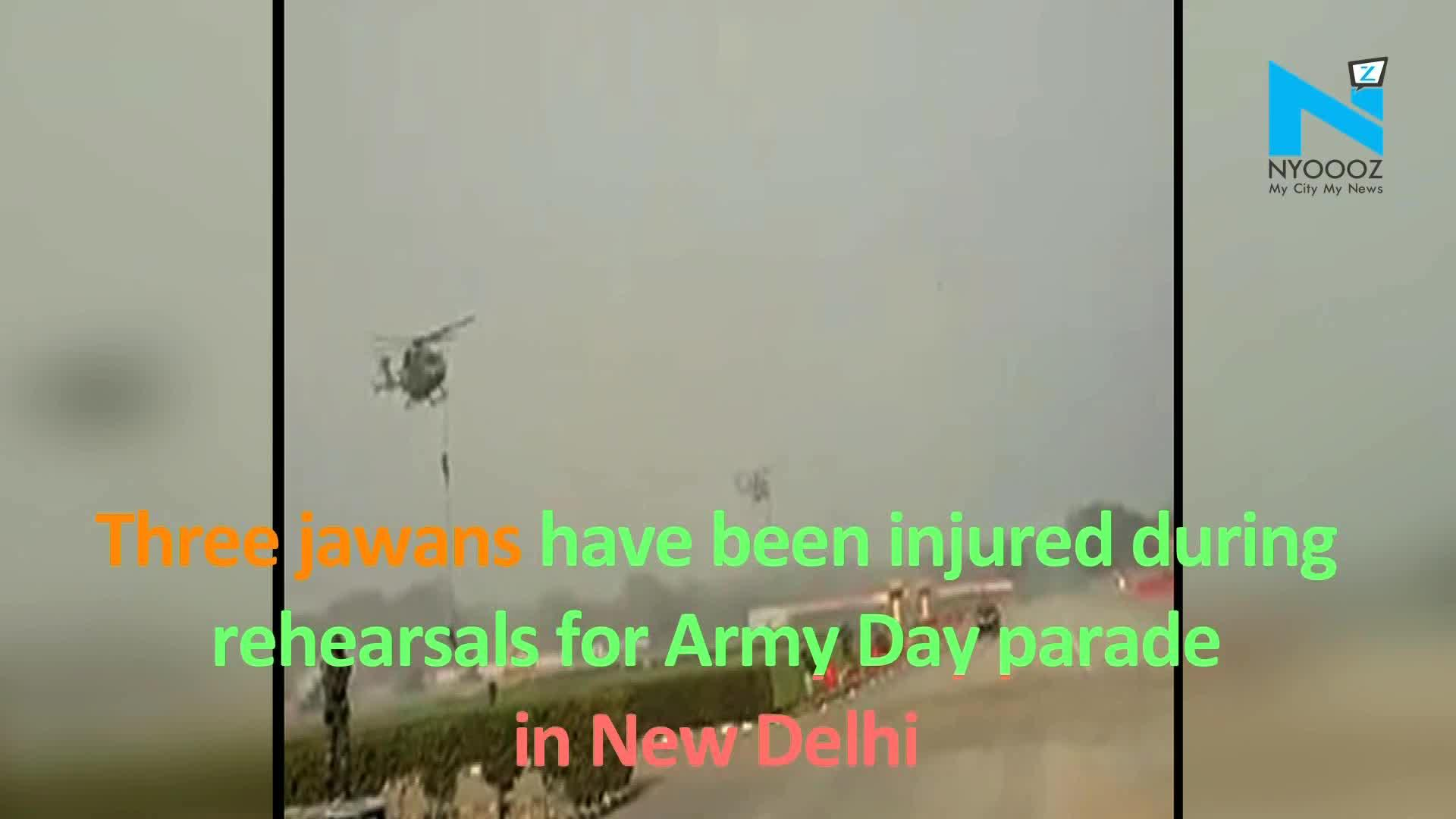 3 Jawans Fall As Rope Slips Off Helicopter During Army Day