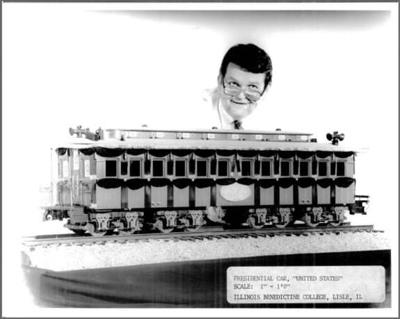 Wayne Wesolowski with his scale model of Abraham Lincoln's funeral train.