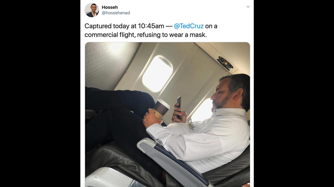 Ted Cruz spotted without mask on flight before attending rally with around 200 people
