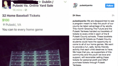 Yankees farm team upset when adults ruin free ticket giveaway for kids