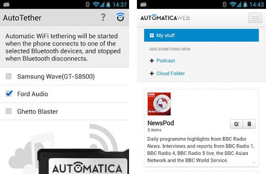 AutoTether for Android produces an instant in-car hotspot