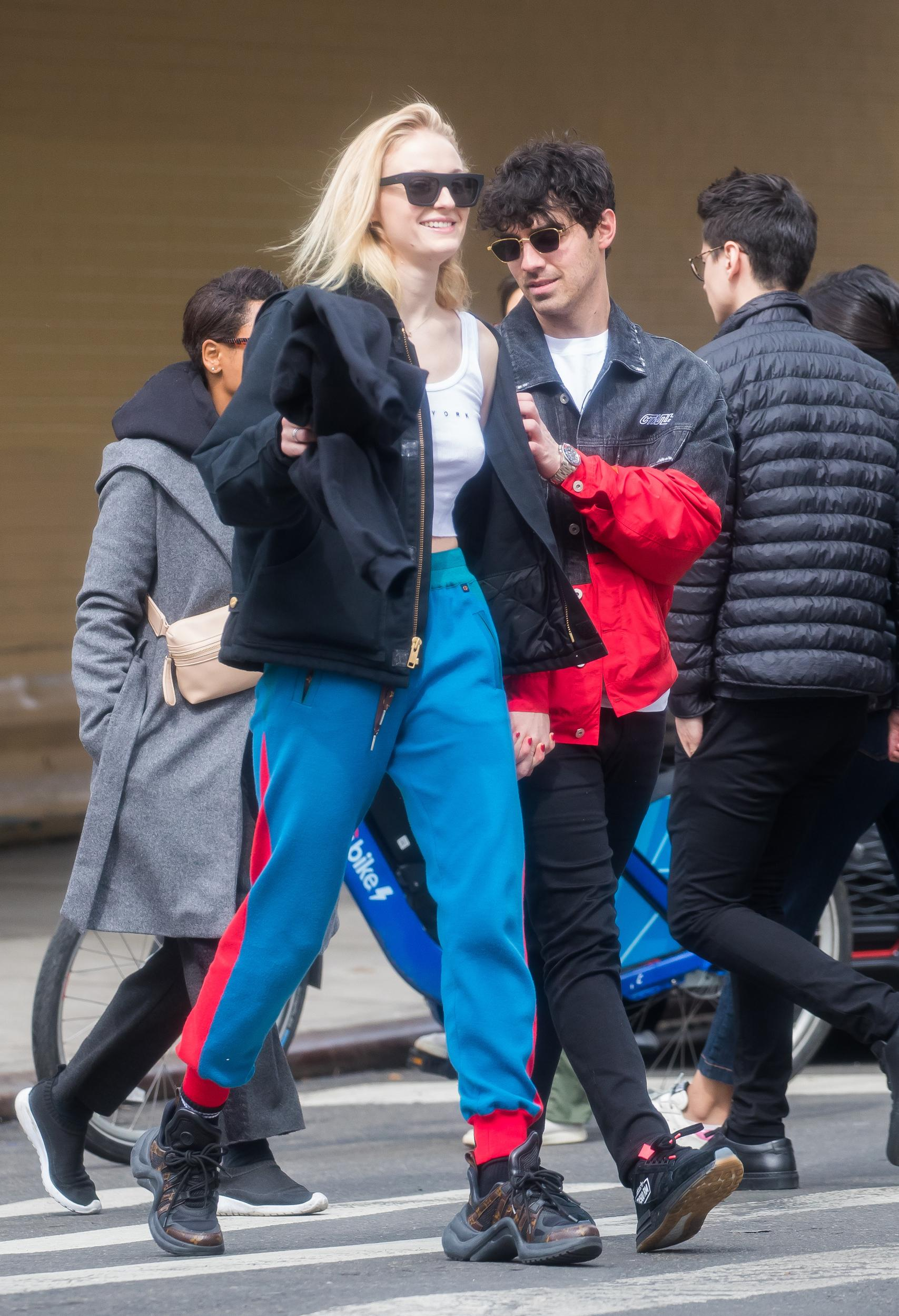 NEW YORK, NEW YORK - MARCH 15: Sophie Turner and Joe Jonas are seen on March 15, 2019 in New York City. (Photo by Say Cheese!/GC Images)