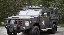 Construction sign hacked in Indiana to read 'Abolish ICE' after controversial purchase of armored vehicle for police