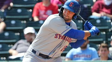 Tebow finally smacks his first Triple-A homer