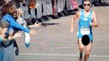 Runner suffers x-rated wardrobe malfunction during marathon