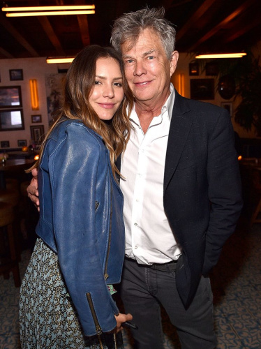 Katharine McPhee and David Foster looked quite cozy at Barbra Streisand's birthday bash in April. (Photo by Kevin Mazur/WireImage)