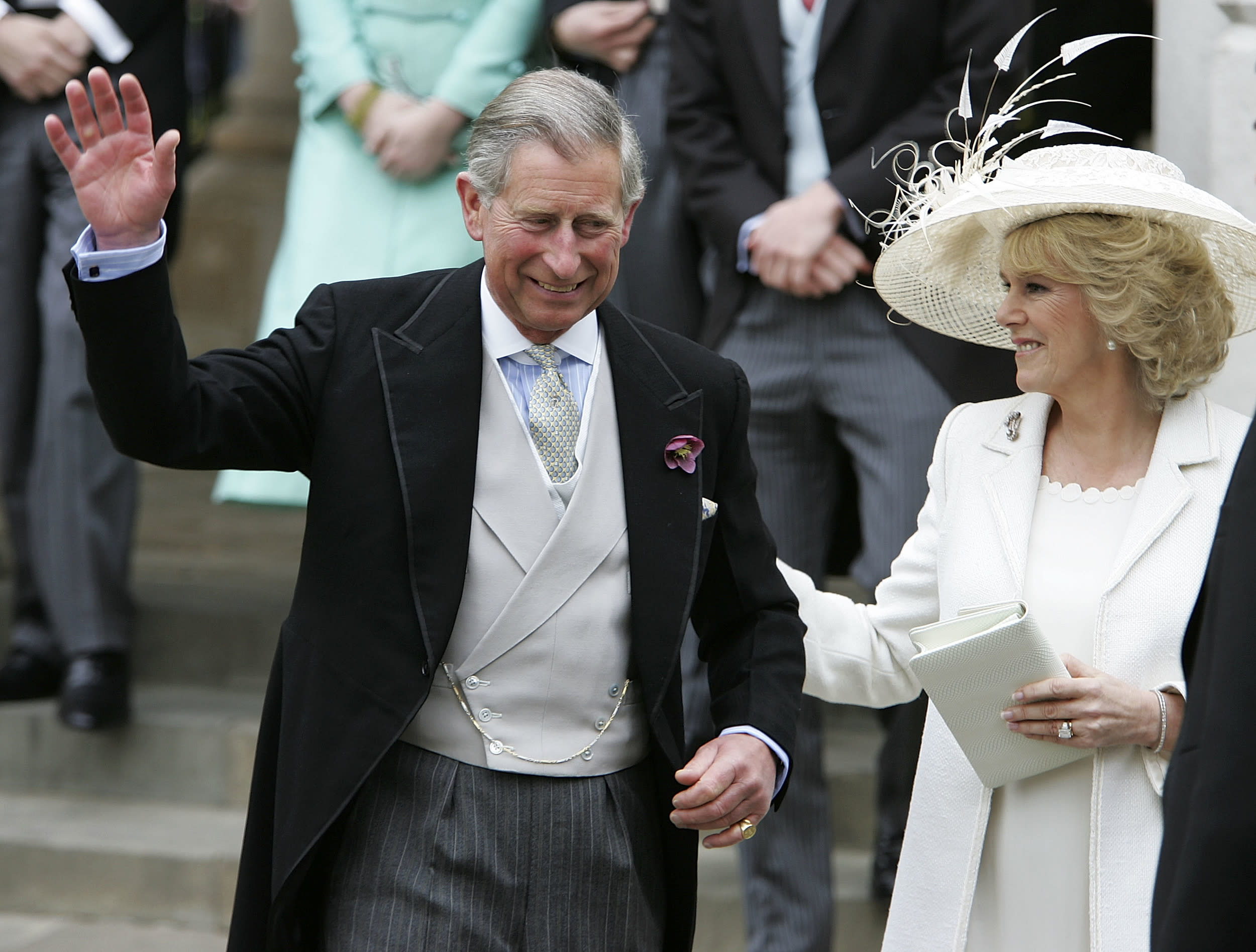 WINDSOR, UNITED KINGDOM - APRIL 09: TRH Prince Charles & The Duchess of Cornwall, Camilla Parker Bowles depart the Civil Ceremony where they were legally married, at The Guildhall, Windsor on April 9, 2005 in Berkshire, England. (Photo by Georges De Keerle/Getty Images)
