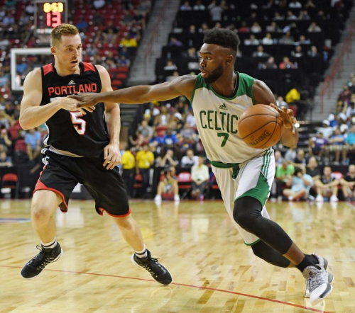 Jaylen Brown showed some promise last season in a limited role with the Celtics. (Getty)