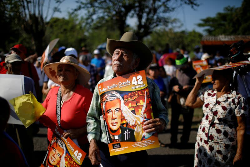 FILE PHOTO: People participate in the commemoration of the 1977 murder of Jesuit priest Rutilio Grande in El Paisnal