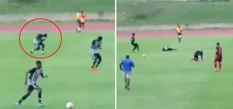 Moment footballers are struck by lightning