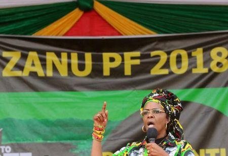 FILE PHOTO: President Robert Mugabe's wife Grace addresses a rally of the ruling ZANU (PF) in Chinhoyi, Zimbabwe