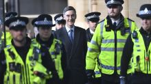 Protesters chant 'traitor' at Jacob Rees Mogg and his 12-year-old son