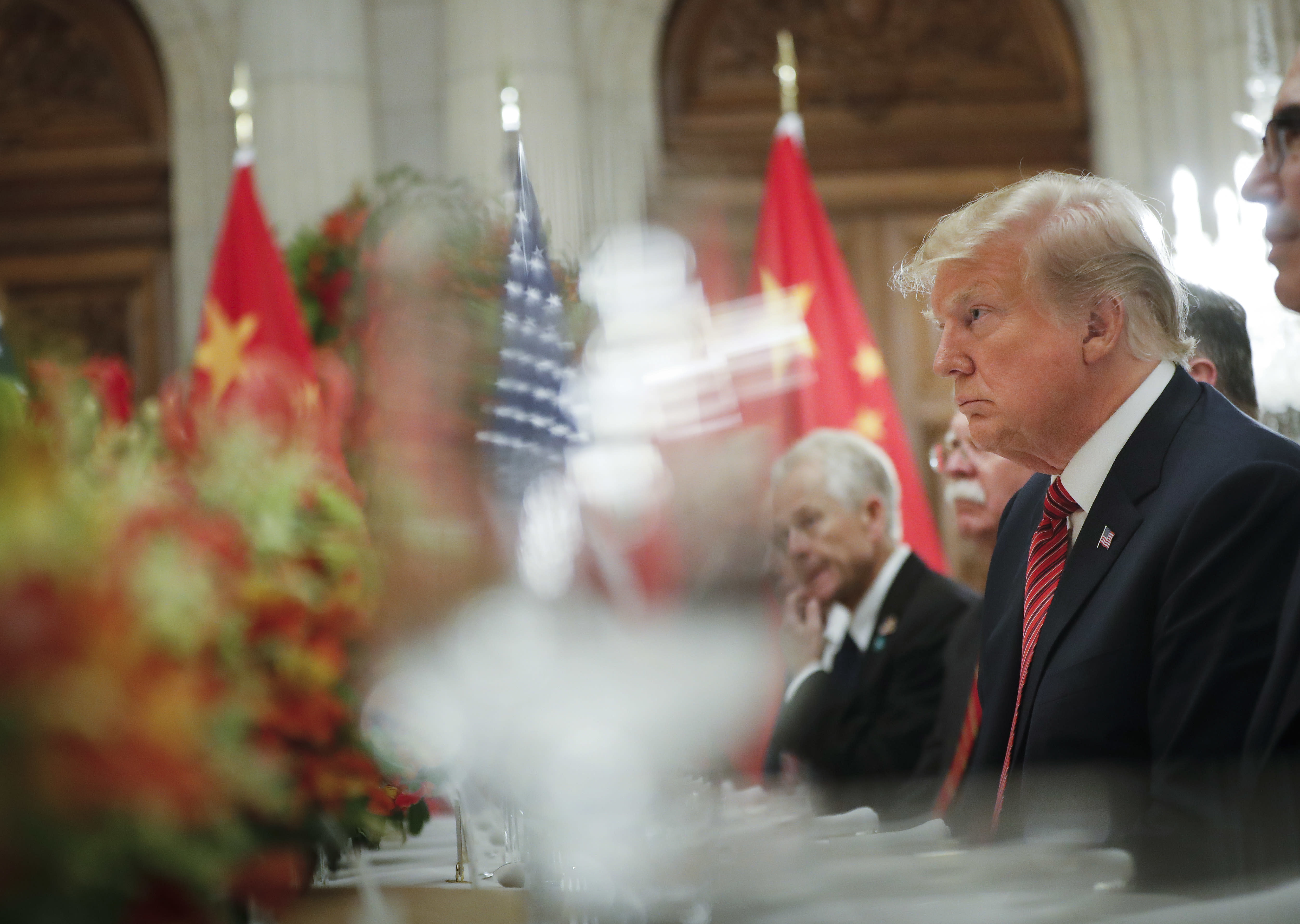 President Donald Trump listens to China's President Xi Jinping speak during their bilateral meeting at the G20 Summit, Saturday, Dec. 1, 2018 in Buenos Aires, Argentina. (AP Photo/Pablo Martinez Monsivais)
