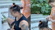 Sônia Bridi corta o cabelo do genro, Rafael Cardoso