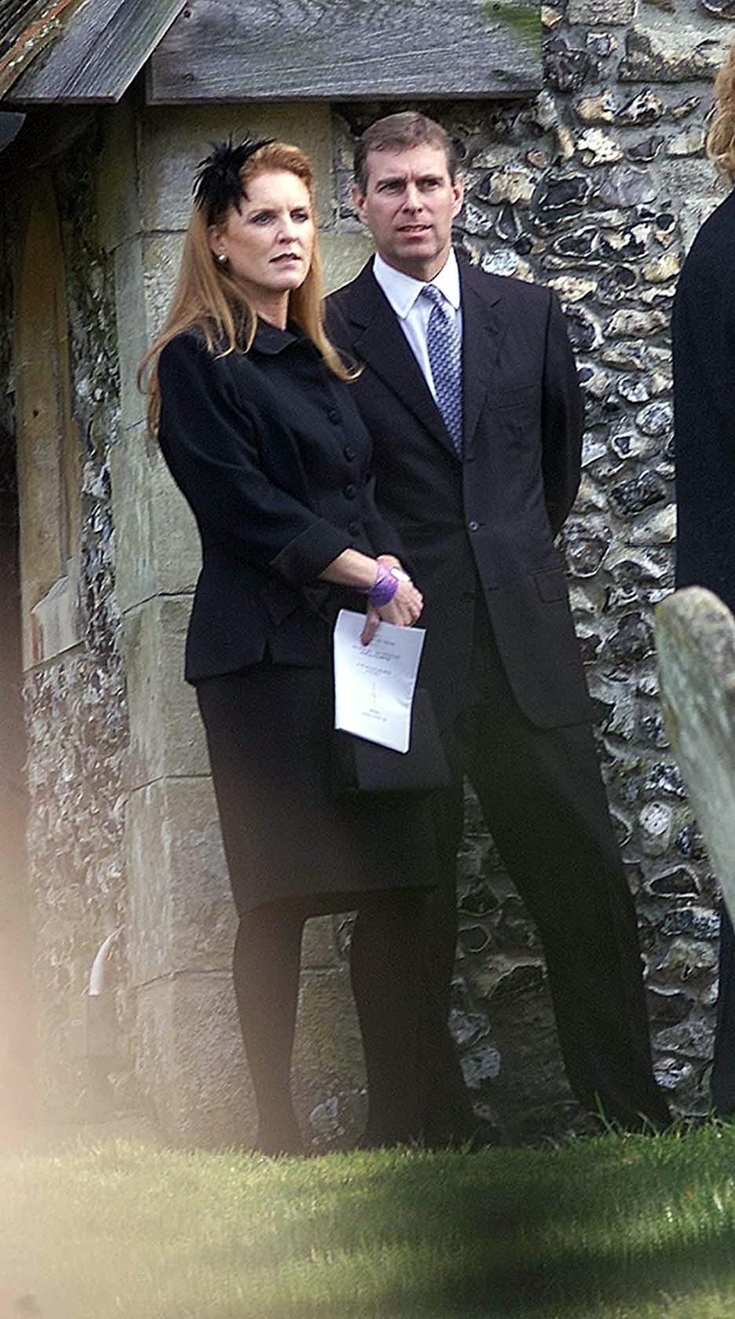 The Duke and Duchess of York arriving at All Saints Church in Odiham in Hampshire, for the  Service of Thanksgiving and funeral  of Major Ron Ferguson.