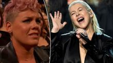 Pink denies cringing at AMAs: 'I am in awe of Christina'