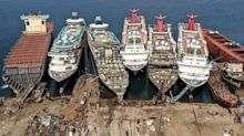 Photos shows luxury cruise ships being broken up at a dock in Turkey as the coronavirus pandemic continues to wreck the industry