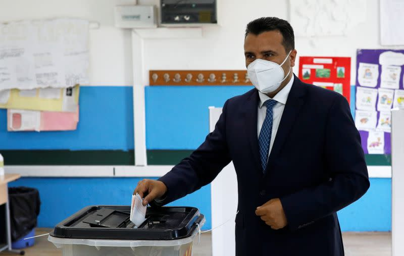 Macedonian Former Prime Minister and leader of the ruling SDSM party Zoran Zaev casts his ballot at a polling station during the general election, in Strumica
