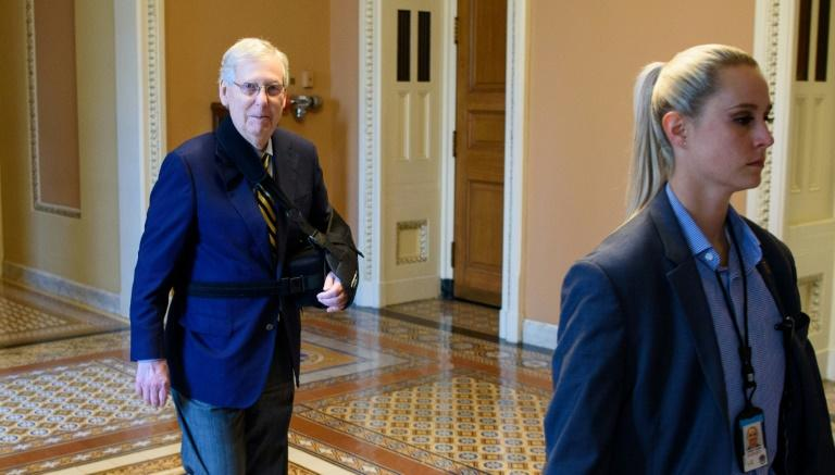 As US lawmakers reconvene in Washington following a summer rocked by mass shootings, all eyes are on Senate Majority Leader Mitch McConnell, who has said he will not bring gun control legislation to a vote without support from President Donald Trump (AFP Photo/MANDEL NGAN)