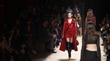 Italian exhibit traces its fashion DNA; Cavalli shows skin