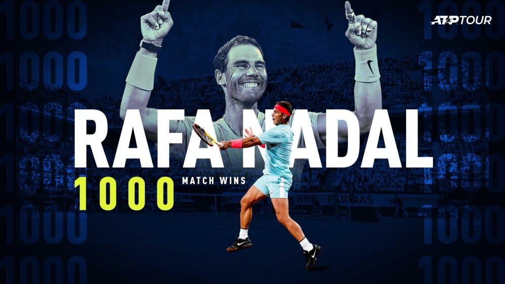 【網球】拿度獲生涯第1,000勝  成史上僅第4人