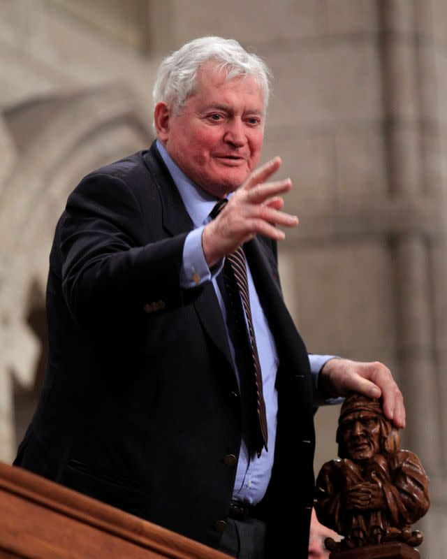 FILE PHOTO: Former Canadian PM Turner gestures in the House of Commons on Parliament Hill in Ottawa