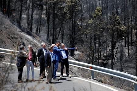 Spain's acting Prime Minister Pedro Sanchez visits Gran Canaria in Canary Islands that has been affected by Spain's worst wildfire in six years, in Valleseco