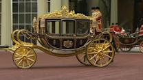 Queen debuts new state coach ahead of parliament speech