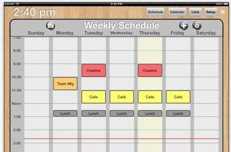 Quickly sketch out class or meeting schedules with Weekly Schedule for iPad