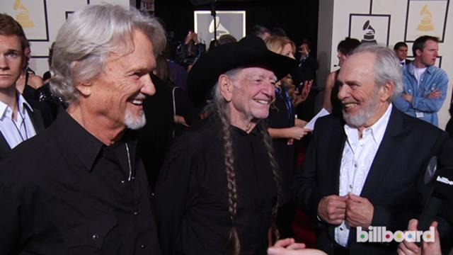 Kris Kristofferson, Willie Nelson & Merle Haggard on the GRAMMYs Red Carpet 2014