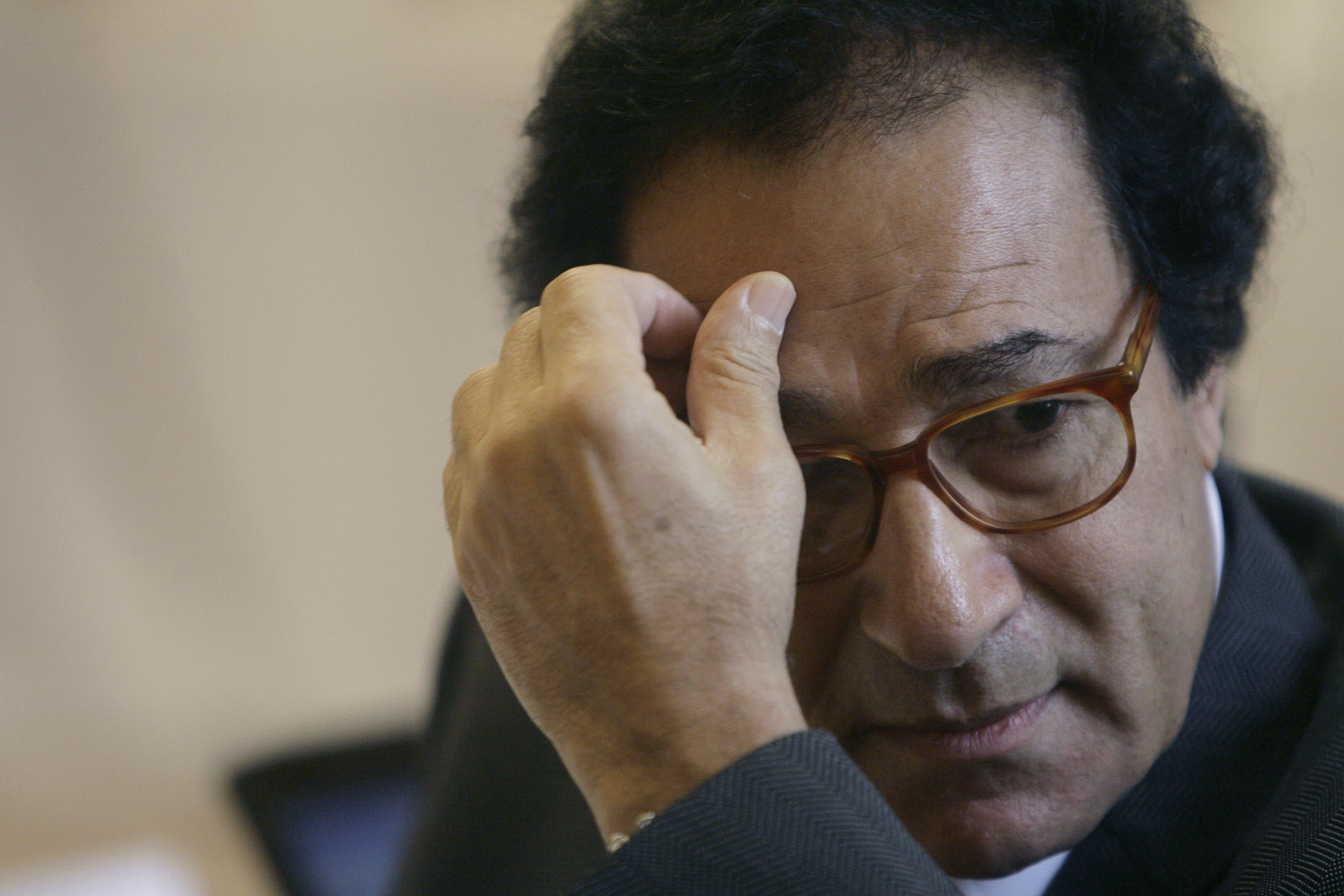 FILE - In this Thursday, May 21, 2009 file photo, then Egypt's Culture Minister Farouq Hosni gestures while attending the South American and Arab countries' meeting of Culture Ministers in Rio de Janeiro. Hosni, who served as culture minister for most of former President Mubarak's 29 year-rule has been charged with corruption and referred to trial according to Egypt's official news agency. says Hosni allegedly failed to account for 18 million Egyptian pounds of his wealth during a Justice Ministry investigation (AP Photo/Ricardo Moraes, File)