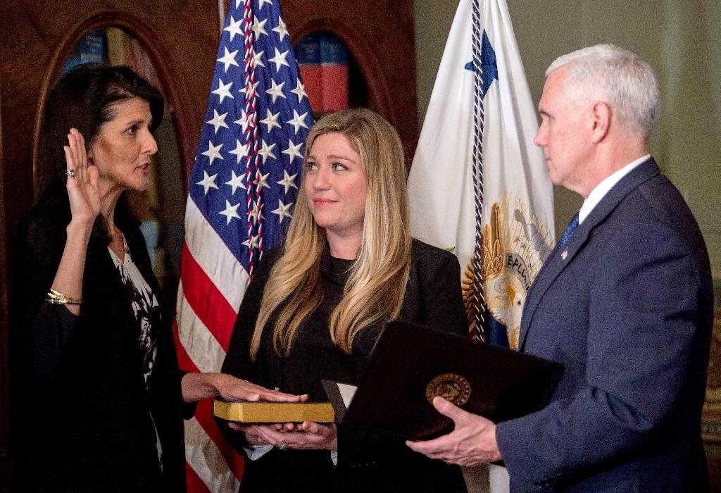 US Vice President Mike Pence (right) swears in Nikki Haley as US ambassador to the United Nations during a ceremony in Washington DC, on January 25, 2017