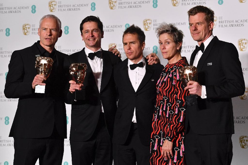 L-R: Martin McDonagh, Peter Czernin, Sam Rockwell, Frances McDormand and Graham Broadbent pose after receiving the award for Best Film at the BAFTA British Academy Film Awards (AFP Photo/Ben STANSALL)