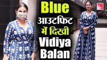 Vidya Balan looks pretty in Blue Dress for Shakuntala Devi Promotion