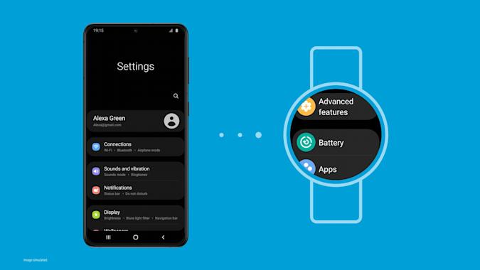 A screenshot showing the new Samsung One UI Watch experience based on Wear OS. A phone showing a Settings screen on the left, three dots in the middle and a watch on the right showing similar Settings.