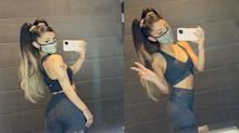 Ariana Grande takes on VMAs rehearsals in this $220 legging set from Alo Yoga