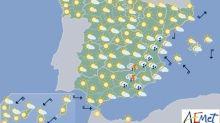 Hoy, chubascos y tormentas localmente fuertes al este de Cataluña y Baleares