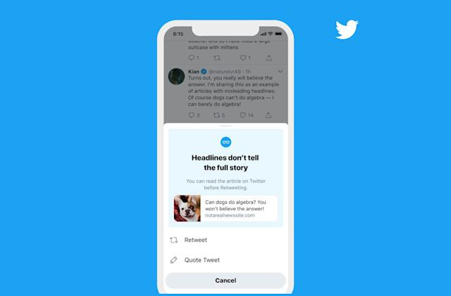 Twitter expands its 'read before sharing' test to iOS