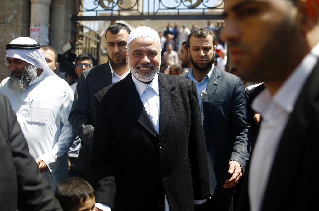 Palestinian Hamas chief Ismail Haniya says the group is not calling for war but will not tolerate Israeli incursions (AFP Photo/Mohammed Abed)