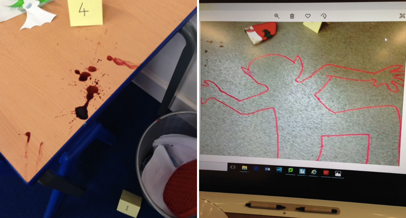Children 'traumatised' after investigating 'murder scene' in class