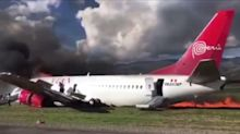 Peruvian Airlines plane leaves trail of fire in dramatic crash-landing