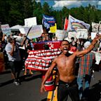 Native American protesters blocked the road leading up to Mount Rushmore and faced off with the National Guard in the hours before Trump's fiery speech