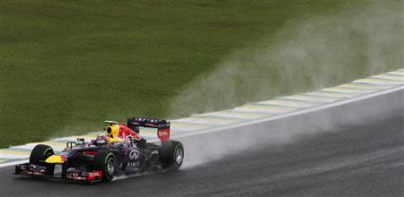 Mark Webber of Australia drives during the third practice session of the Brazilian F1 Grand Prix at the Interlagos circuit in Sao Paulo