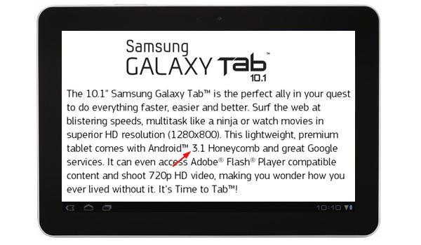 Samsung Galaxy Tab 10.1 will ship with Android 3.1 on board, said to be 'a few days away'