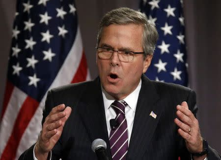 Former Florida Governor Jeb Bush speaks at The Chicago Council on Global Affairs in Chicago, Illinois