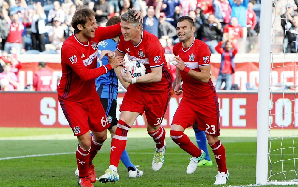 Bastian Schweinsteiger celebrates his debut goal - Getty Images North America